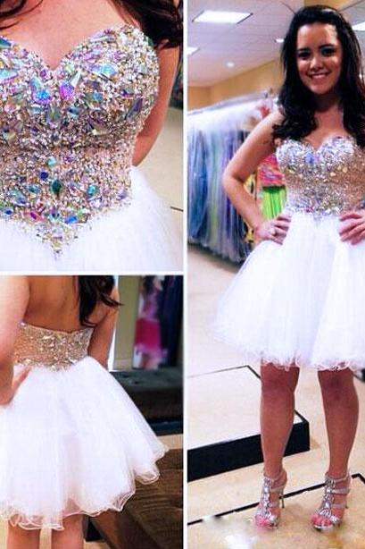 Sweetheart Homecoming Dresses,Beading Tulle Homecoming Dresses,Short Prom Dresses,Strapless Evening Dresses