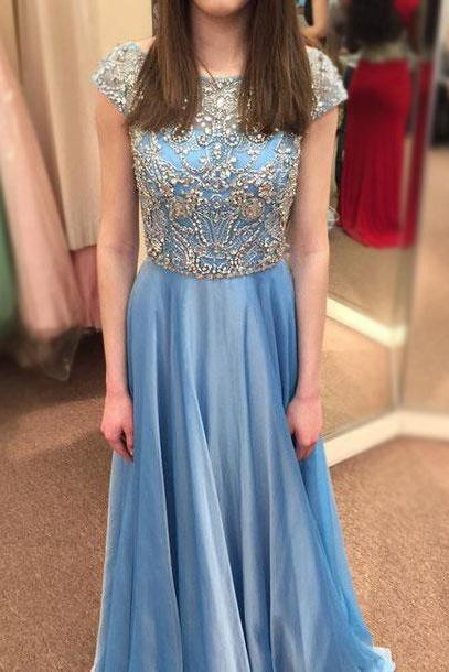 Gorgeous Chiffon Prom Dresses,Long Evening Dresses,Beading Prom Dresses,Cap Sleeve Party Dresses,2016 Graduation Dresses