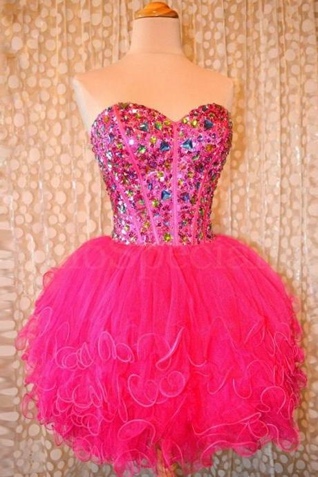 Sparkly Colorful Crystal Short Homecoming Dresses Sexy Brillante Lentejuelas Vestidos Mini Puffy Tulle Homecoming Dress