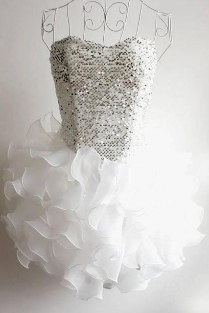 Free shipping Ruffles Short Prom Dress Ball Gown Strapless Hoemcoming Party Dress White Custom made Girls Dress for Wedding