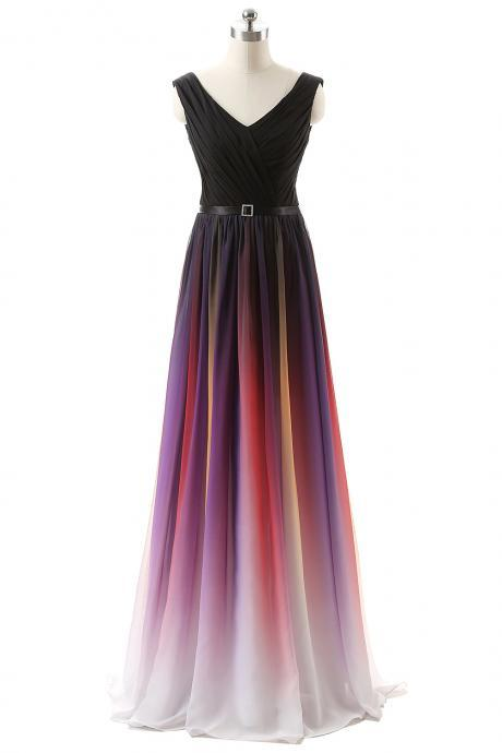 Ombré Floor-Length Chiffon Prom Dress with V-Neck and Lace-Up Back