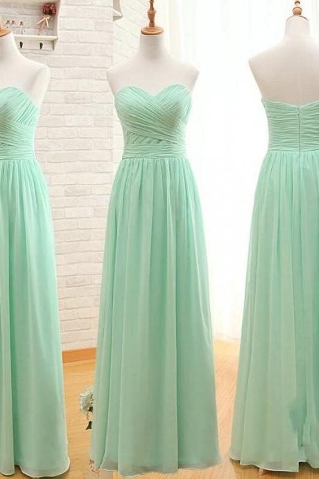 Sweetheart Long Chiffon Prom Dress,Bridesmaid Dress For Wedding Party