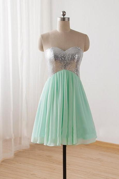 Short Mint Green Sequins Chiffon Prom Party Dresses,Criss Cross Back Homecoming Dresses,Sweety Bridesmaid Dress For Wedding