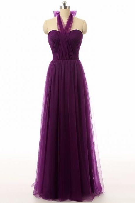 Halter Long Tulle Bridesmaid Dresses Backless Cheap Wedding Party Gowns Women Formal Party Dress Prom Gowns