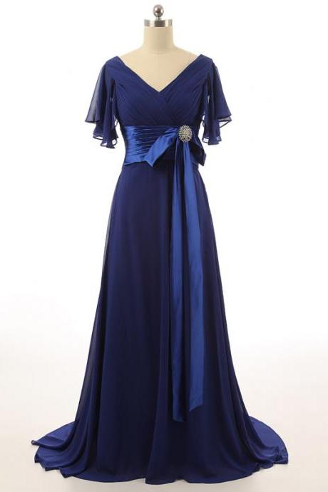 V Neck Chiffon Flutter Sleeves Waistline with Beaded Brooch Bow Women Party Dresses Long Mother of the Bride Dresses