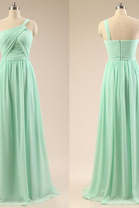 One Shoulder Bridesmaid Dresses with Pleats, Chiffon Bridesmaid Gowns, Long Bridesmaid Dresses,Mint Green Prom Dresses