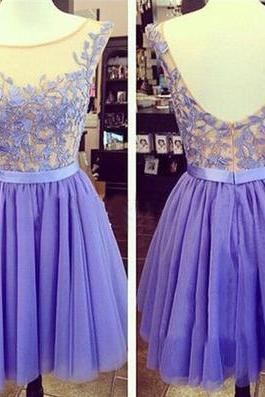 Elegant Short Lavender Homecoming Dresses,A Line Scoop Backless Prom Gowns,Lace Bridesmaid Dress,Mini Tulle Graduation Dresses