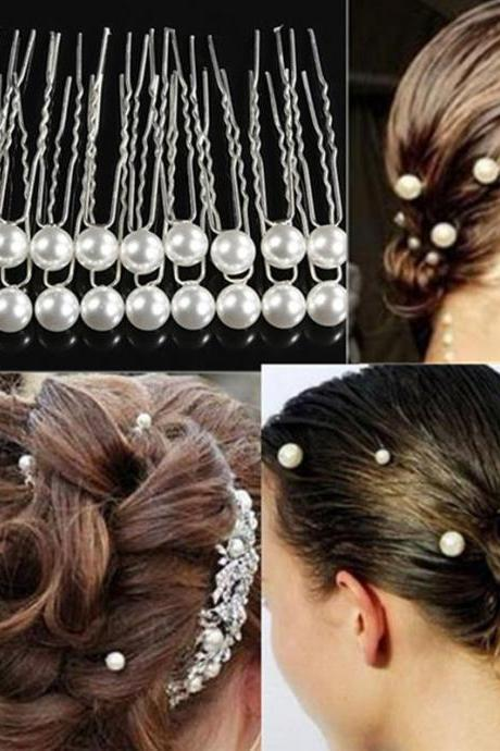 20pcs/pack White Pearl Hair Clips Women Charm Wedding Bridal Party Hairpins Jewelry Accessories,Wire Hair Pin