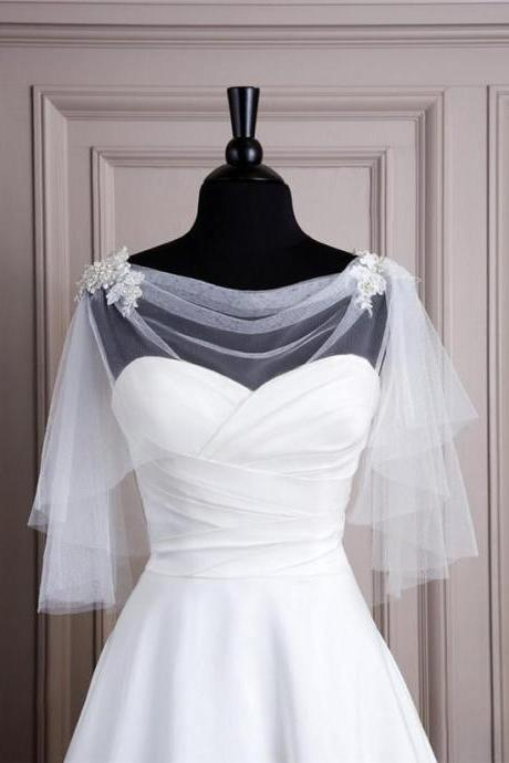 Short White Ivory Tulle Boleros Bridal Wedding Wraps Jackets Capes Shrugs Cheap Sale Plus Size Half Long Sleeves