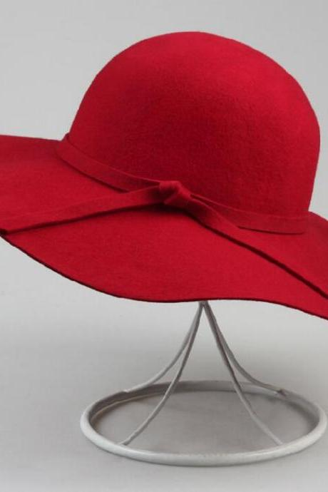British Spring Autumn Winter Europe and America Style Woolen Hats Wavy Edge Vintage Hats Wool Felt Beach Wide Brim Ladies Floppy Hat Bowler Derby Cloche Cap Red Hats