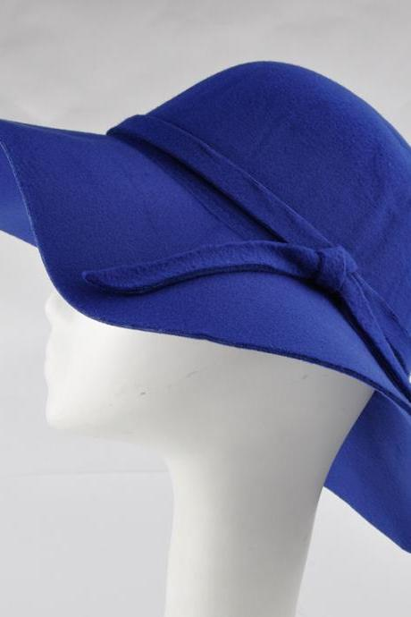 Fashion Floppy Hats Vintage Woolen Felt Hat Female Autumn Winter Waves Large Brim Sunbonnet Fedoras Sun Hat Royal Blue