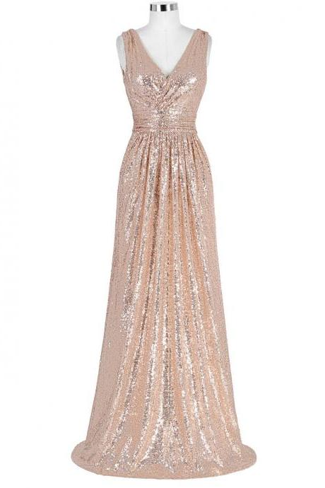 Rose Gold Long Sequins Bridesmaid Dresses A Line V Neck Backless Special Occasion Dresses Cheap Wedding Party Dress