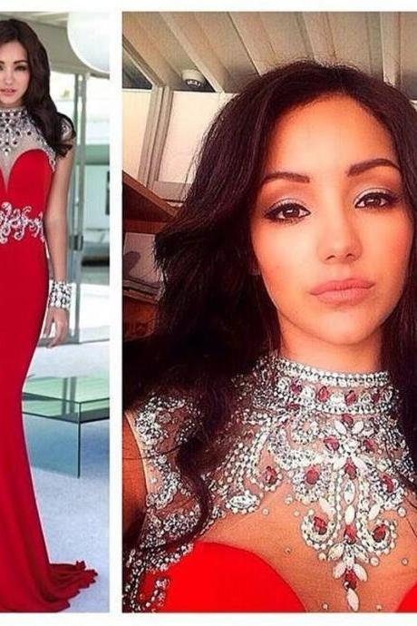 Red Pageant Gown,Bead Crystal 2016 Formal Prom Dress,Long Party Dresses, Mermaid Evening Dresses,High Neck Prom Dress