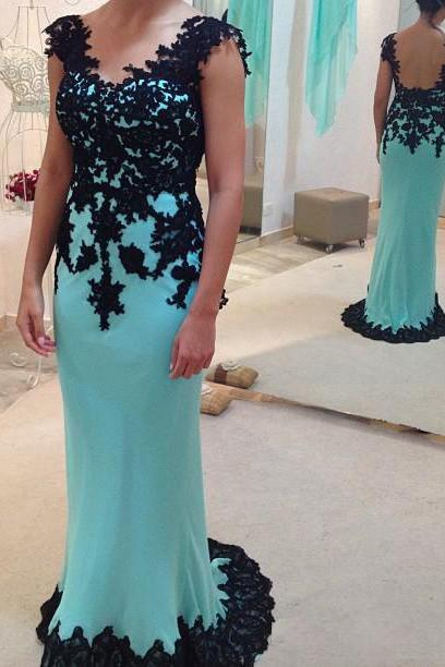 Sheath V-neck Aqua Prom Dress,Backless Prom Dress,Cap Sleeve Women Formal Party Dress with Black Lace