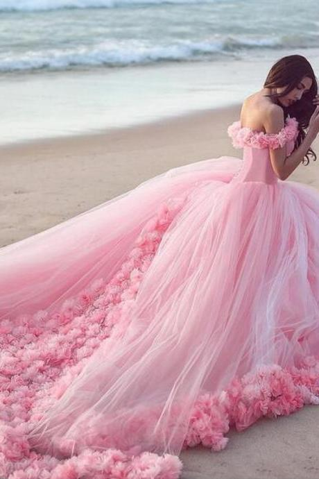 2016 Pink Flowers Ball Gown Wedding Dresses Scoop Tulle Floor-Length Wedding Bridal Gown Vestido De Noiva Robe De Mariage