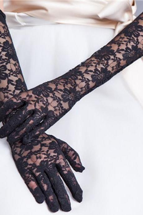 Lace Bridal Gloves Elbow Length Women Wedding Gloves Finger Long One Size Black Formal Party Gloves
