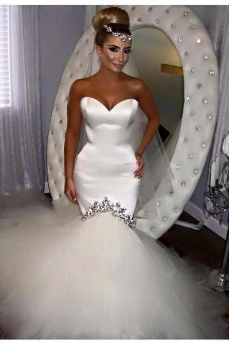 Sexy Mermaid Wedding Dress Sweetheart Crystals Satin Tulle Wedding Dresses Long Train Bridal Gowns Custom Made Wedding Dress