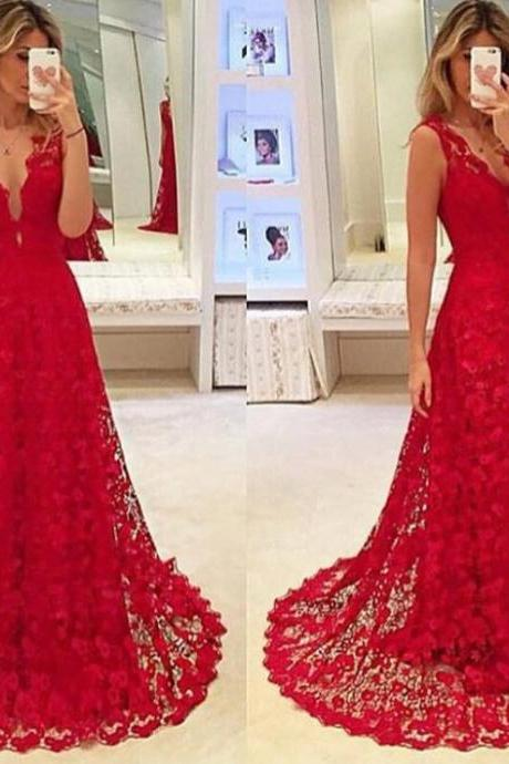 Sexy Deep V NeckProm Dress, Red Lace Women Formal Party Gowns, A Line Formal Prom Gown With Small Sweep Train
