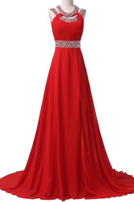 Gorgeous Crystal Beads Floor Length Red Long Evening Prom dress, Chiffon Formal Long Gown, Cheap Women Wedding Party dresses