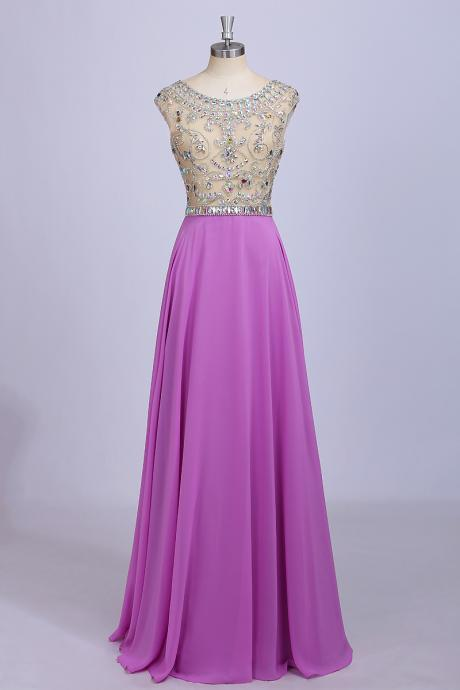 Light Purple Prom Dresses, Long Hot Chiffon Floor Length Party Dress, Beaded Crystals Prom Dresses,Cap Sleeve Prom Gowns,Backless Women Formal Gowns