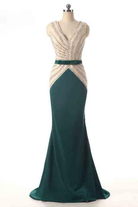 Mermaid Evening Dress,V-Neck Sleeveless Formal Dress,Sequins Beads Mother of the Bride Dresses,Long Satin Women Evening Gowns