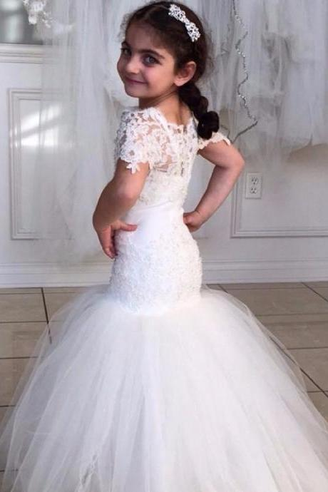 Lovely 2016 Mermaid Lace Flower Girl Dresses for Wedding Short Sleeves Appliques Kids Formal Gowns Girl Pageant Dress