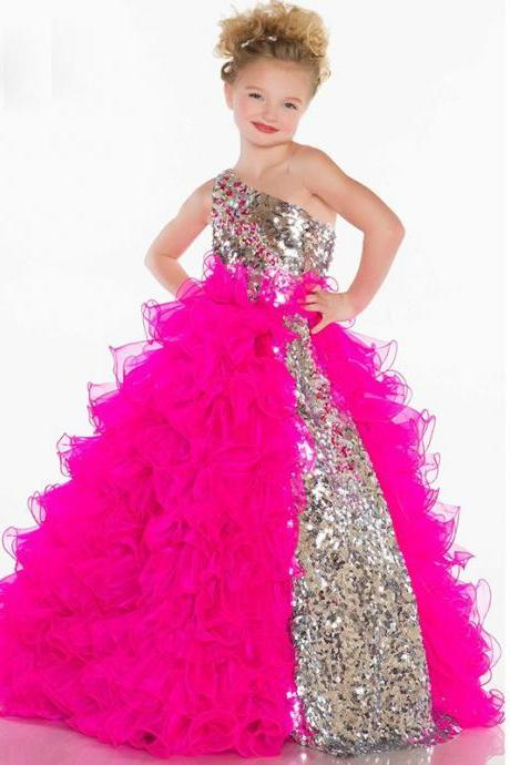 Charming Beautiful Ball Gown Flower Girl Dresses Pink Straps Floor-Length Child Girl Ruffled Pageant Gowns