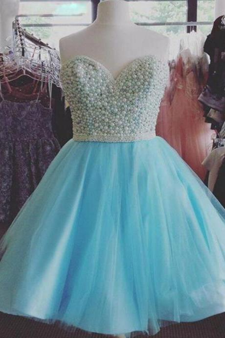 Light Blue Homecoming Dresses 2016 Above Knee Prom Dress with Pearls 8th Grade Graduation Dresses