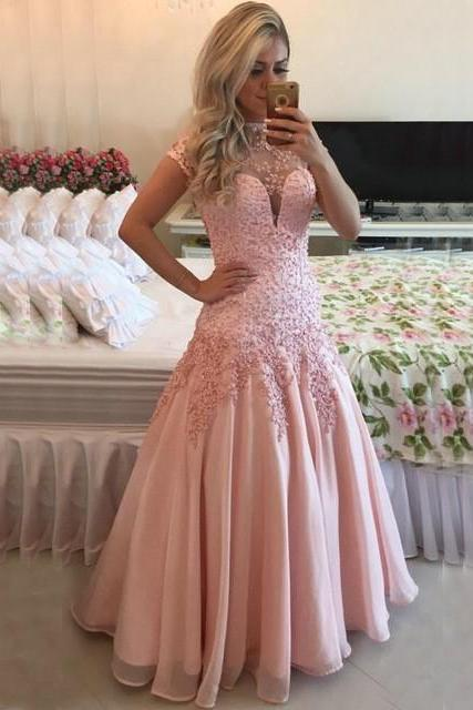 High Neck Cap Sleeves Pink Prom Dresses 2016 Sexy Open Back Sheer Top Lace Applique Long Evening Dress