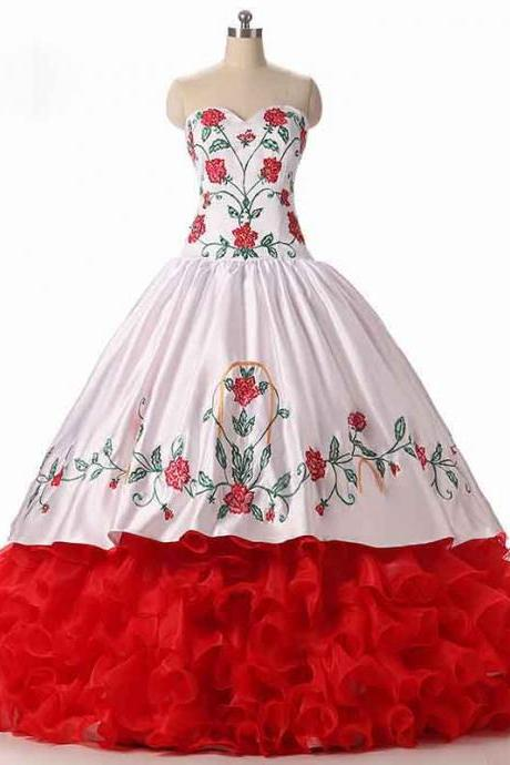 Luxurious 2016 White and Red Embroidery Quinceanera Dress Ball Gown Ruffles Organza Layer Sweet 16 Dress Satin Prom Dresses