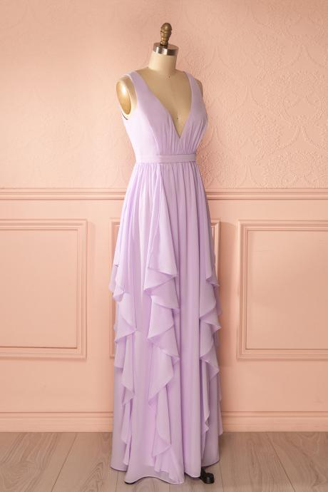 Long Chiffon Lavender Bridesmaid Dresses 2016 V neck Backless Elegant Prom Party Dress for Wedding Cheap Dress