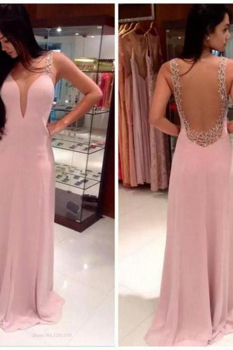 New Arrival Sexy Backless Chiffon Prom Dresses 2016 Party Special Occasion Dresses Women Gown Prom Dresses Cheap Gowns