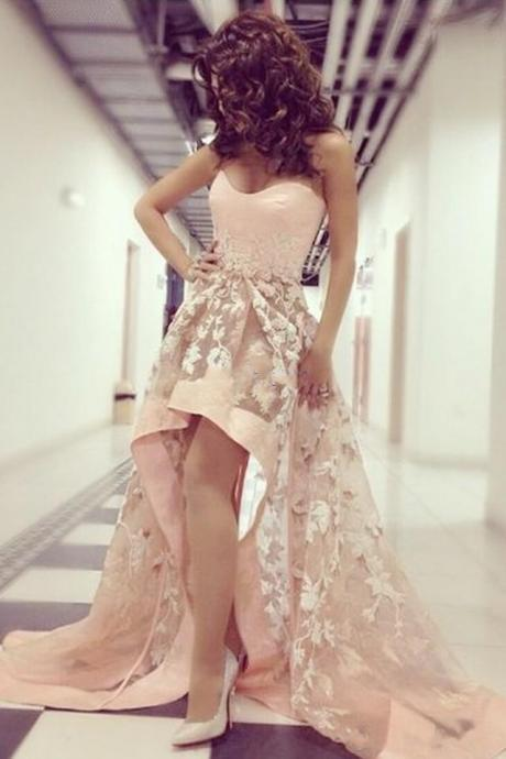 High Low Prom Dresses, 2016 Sweetheart Lace Short Front Evening Gowns, Sleeveless Formal Dresses,Sweetheart Prom Dress,A line Party Dress