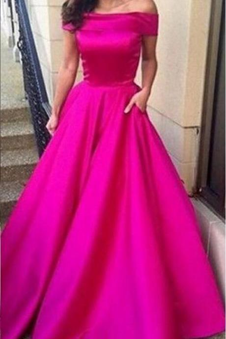 Custom Made Fuchsia Off Shoulder Satin Floor Length Prom Dress