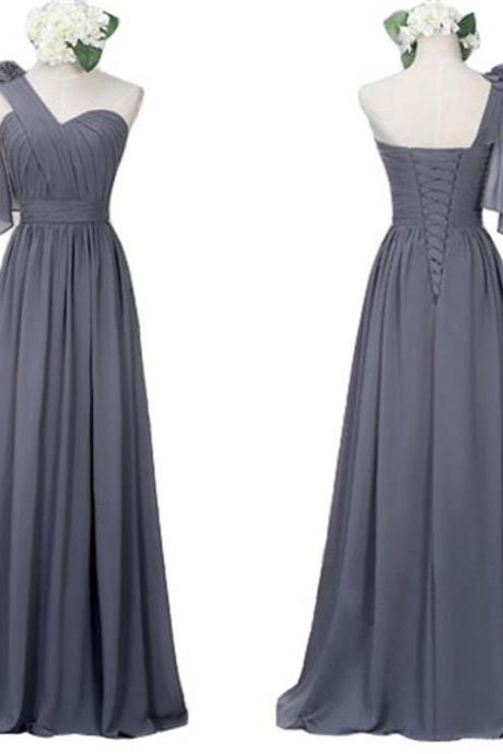 One Shoulder Long Chiffon Bridesmaid Dresses Gray Wedding Party Dress with Pleat