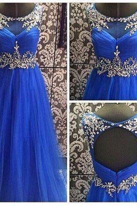 Royal Blue Crystals Beads Prom Dresses, A-line Prom Dresses, Open Back Prom Dresses, Prom Dresses, Cheap prom dresses, Long Tulle Women Formal Party Dress