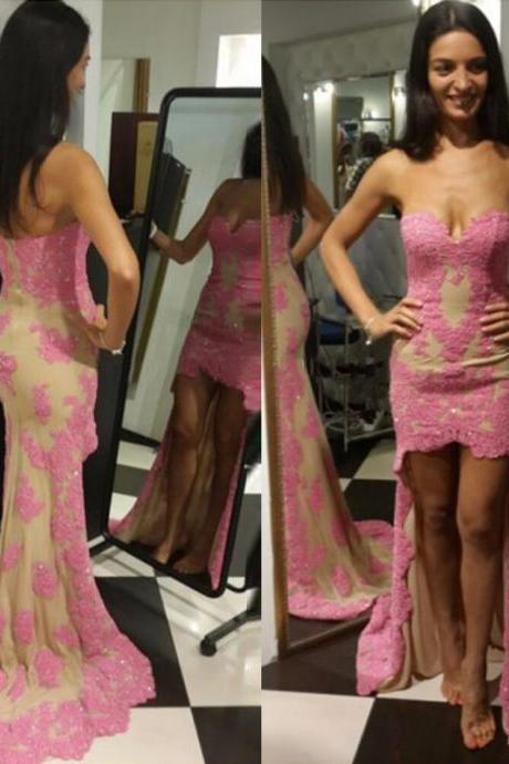 Sweetheart High Front Low Back Sheath Prom Dresses Sexy Pink Lace Women Formal Party Dresses Girls Graduation Gowns