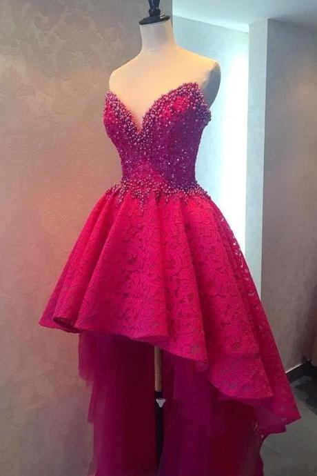 Sexy Beaded Lace Sweetheart High Low Long Prom Dresses Fuchsia Backless Women Formal Party Dresses Custom Made Prom Dress