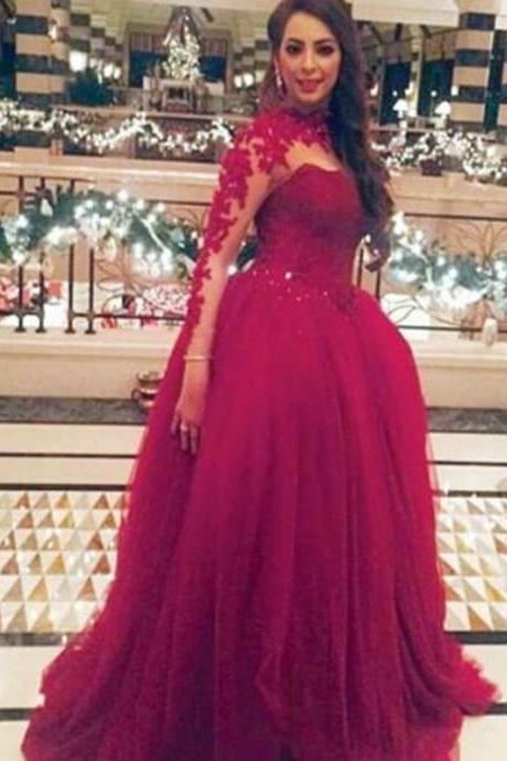 Burgundy High Collar Appliqued Beaded Long Sleeve Prom Dresses Floor Length Celebrity Party Dress