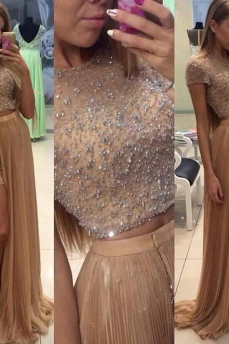 Two Piece Fashion Prom Dresses Jewel Short Sleeve Floor Length Beads Chiffon Long Evening Party Dress Prom Gowns