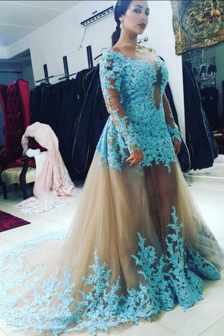 Fashion Removable Skirt Long Sleeve Blue Lace Appliques Prom Dresses Court Train Backless Women Formal Evening Party Dresses