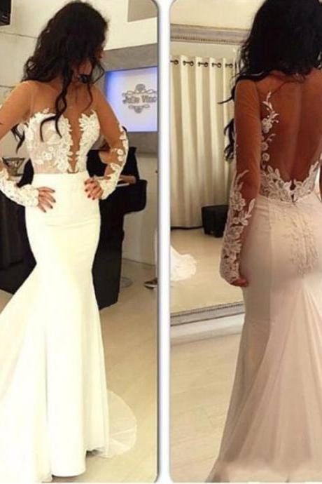 Long Sleeve Lace Applique Mermaid Prom Dresses Chiffon Sheer Neck Sexy Backless Evening Dress Formal Party Dress