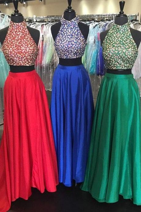Sexy Two Pieces A Line Prom Dresses High Neck Crystals Long Party Evening Formal Gowns for Party Custom Made Prom Dress