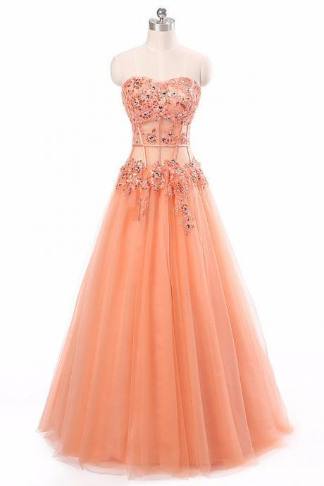 Long Prom Dress,Coral Appliques See Through Corset Prom Gowns ,Formal Dresses Party Gowns,A Line Sweetheart Prom Dresses