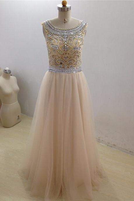 Luxury Beading Crystal Prom Dress,Champagne Prom Gowns, A-line Scoop Tulle Prom Dress, Backless Evening Dresses Custom made Prom Party Gown