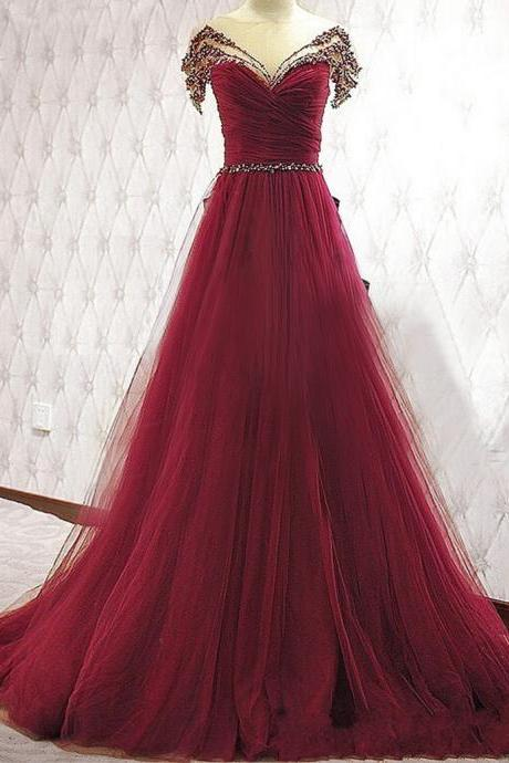 New Arrival Tulle A-line Prom Dresses, Short Sleeves Crystal Floor Length Tulle Evening Gowns,Dark Red Christmas Party Dress,Customized Women Formal Party Dress