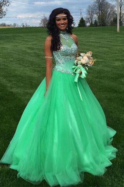 High Neck Luxury Prom Dresses Crystals Bedas Tulle Open Back Girls Party Dress Green Special Occasion Evening Gowns