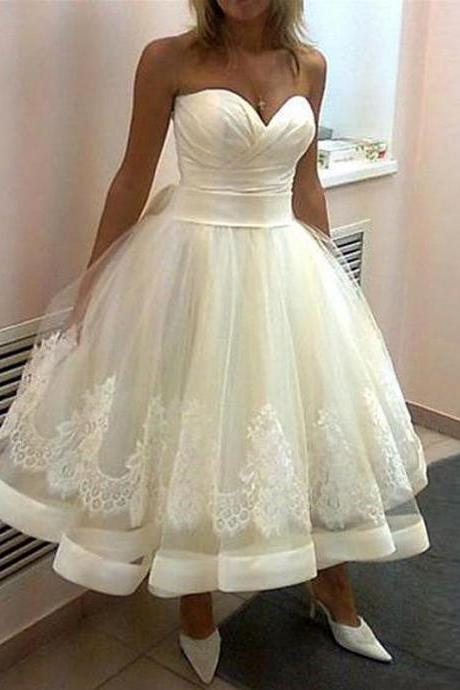 Short Tea Length White Ball Gown Wedding Dresses 2017 Spring Summer Russian Wedding Bridal Gowns With Appliques