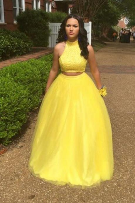 Two Pieces Tulle Long Prom Dress Beading High Neck Yellow Formal Party Gowns Evening Dress Prom Dresses