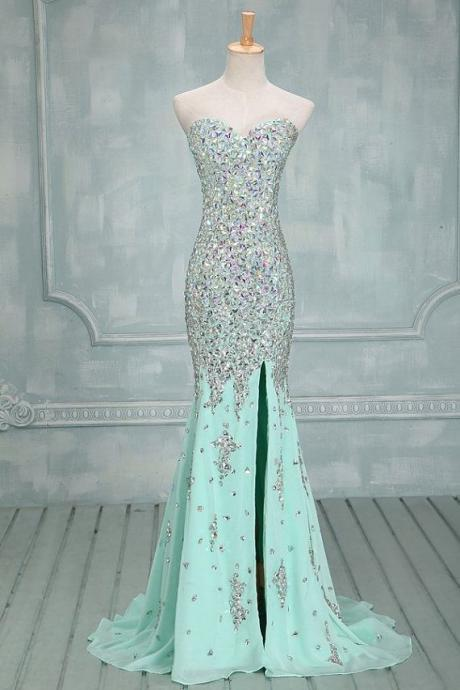 Sweetheart Chiffon Mermaid Elegant Evening Gowns with Crystals Side Slit Long Prom Dresses